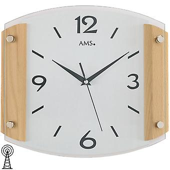 AMS wall clock 5938/18 radio curved mineral glass beech solid wood