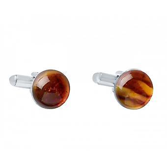 Mannen - Manchetknopen - 925 zilveren - oranje - geel - oranje - 12 mm