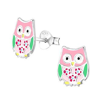 Owl - 925 Sterling Silver Colourful Ear Studs - W36563x