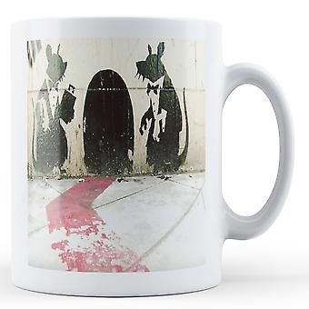 Mug imprimé Banksy - tapis rouge-serveurs de Rat - BKM085