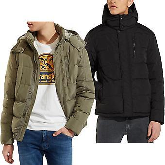 Wrangler Mens Protector Long Sleeve Casual Hood Zipped Padded Warm Jacket Coat