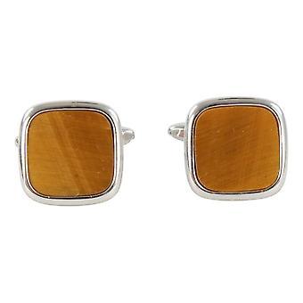 Дэвид ван Хаген Tiger глаз квадратных запонки - серебро/коричневый