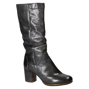Handmade grey leather heels knee high boots