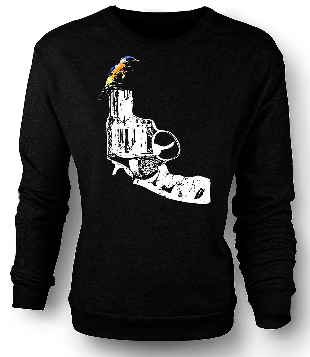 Mens Sweatshirt Kingfisher On Pistol - Cool Gun Design