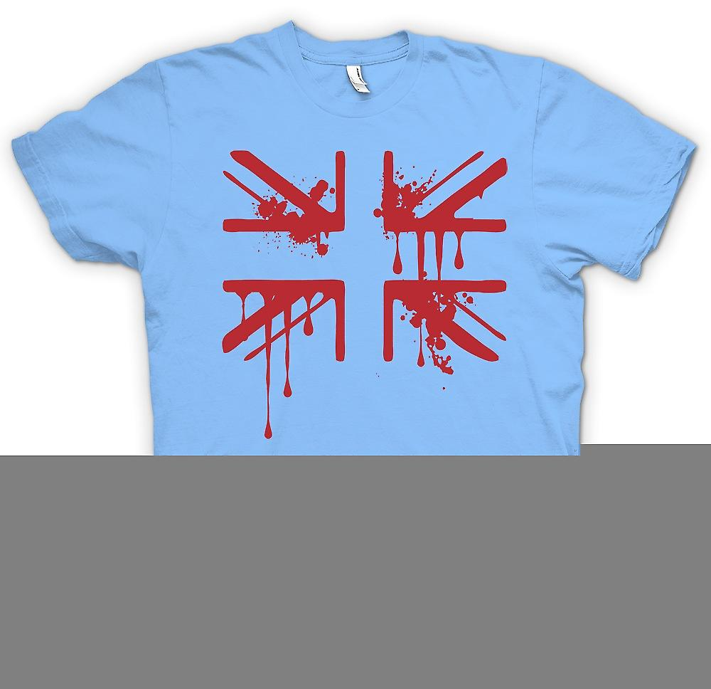 Mens T-shirt - Grunge Blood Union Jack