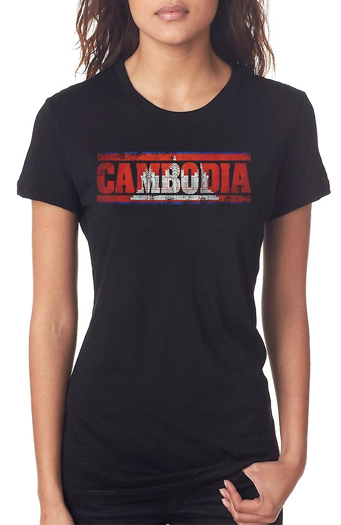 Cambodia Cambodian Flag - Words Ladies T Shirt