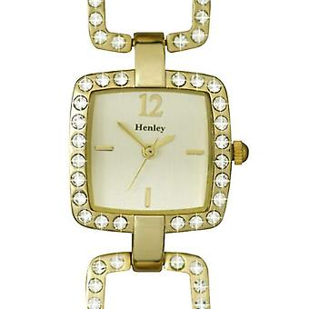 Henley Glamour Ladies Square Open Link Goldtone Watch