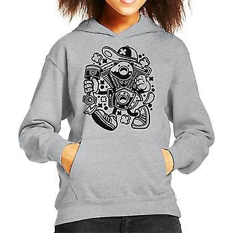 Motor Man Kid's Hooded Sweatshirt