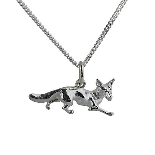 Silver 10x25mm Running Fox Pendant with a curb Chain 20 inches