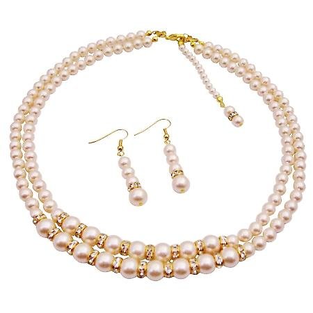 Back Drop Down Bridal Double Stranded Ivory Pearls Jewelry Set