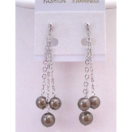 Fashionable Brown Chocolate Pearl Dangling Surgical Post Earrings