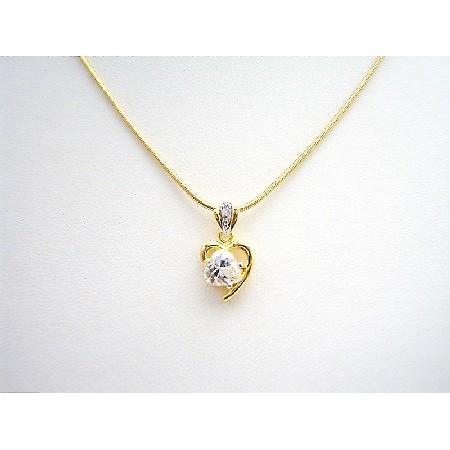 Heart Pendant in Princess Cut CZ in Heart Shape Micron Gold Necklace