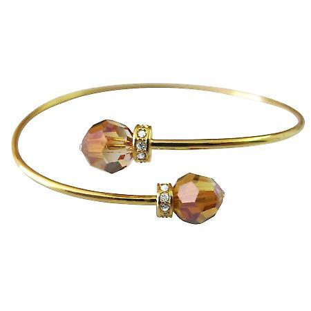 Comfortable Bracelet Swarovski Round Copper Crystals w/ Gold Rondells