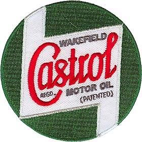 Castrol (round) embroidered iron-on / sew-on cloth patch  (ff)