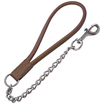 Gloria Short Loop Leather Dog Lead With Chain
