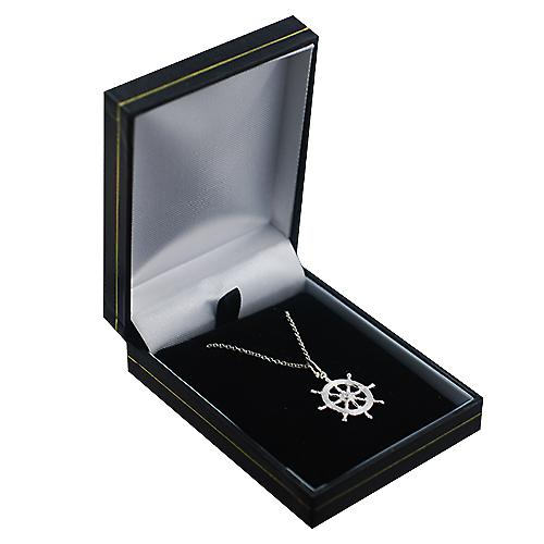 Silver 21mm Ship's Wheel Pendant with a rolo Chain 18 inches