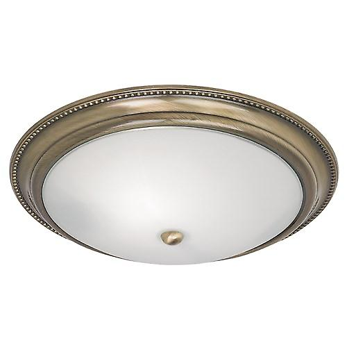Endon 91121 Modern Flush Ceiling Fitting Antique Brass And Opal Glass
