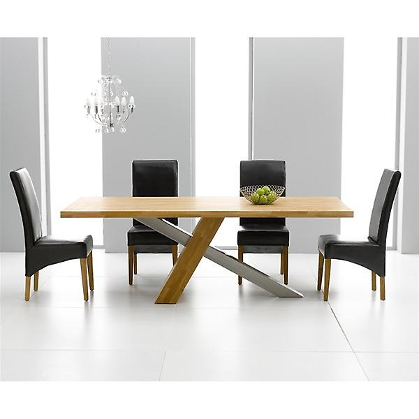 Montana 1.8 Oak & Steel Dining Set With 6 Brown Roma Chairs