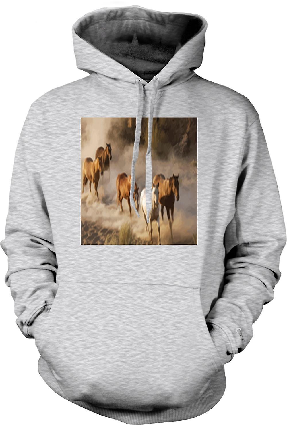 Mens-Hoodie - flüchtende Pferde Prairie Design