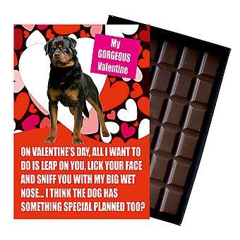 Nieuwigheid Belgische chocolade hond minnaar Valentines Day gift Rottweiler wenskaart