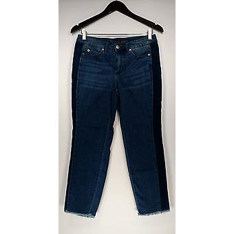 Femmes avec Contrôle Petite Jeans Slim Leg w/ Poches Blue A298649