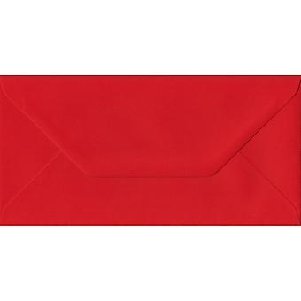 Pavot rouge gommé DL colorés enveloppes rouges. 100gsm FSC papier durable. 110 mm x 220 mm. banquier Style enveloppe.