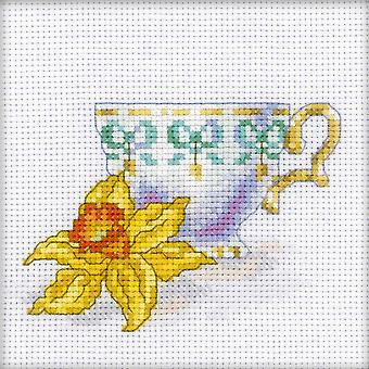 Daffodil Tea Party Counted Cross Stitch Kit-4.75