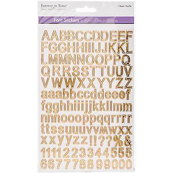 MultiCraft Font Fun Stickers-Gold Reflective Letters SS076M