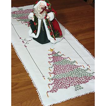 Estampillé dentelle bord Table Runner 15 « X 42 » arbre de Noël 27024