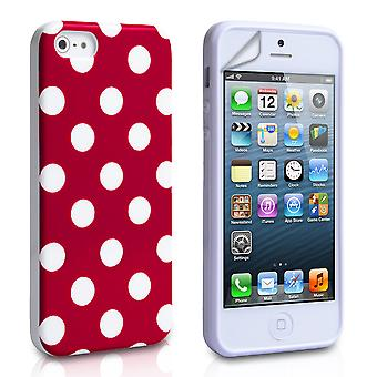 YouSave Accessori iPhone SE Polka Dot caso Red