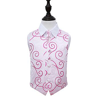 Boy's White & Hot Pink Scroll Wedding Waistcoat & Cravat Set
