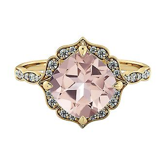 Natural peach/pink 2.25 CTW VS Morganite Ring with Diamonds Yellow Gold 14K Flower Leaves Vintage