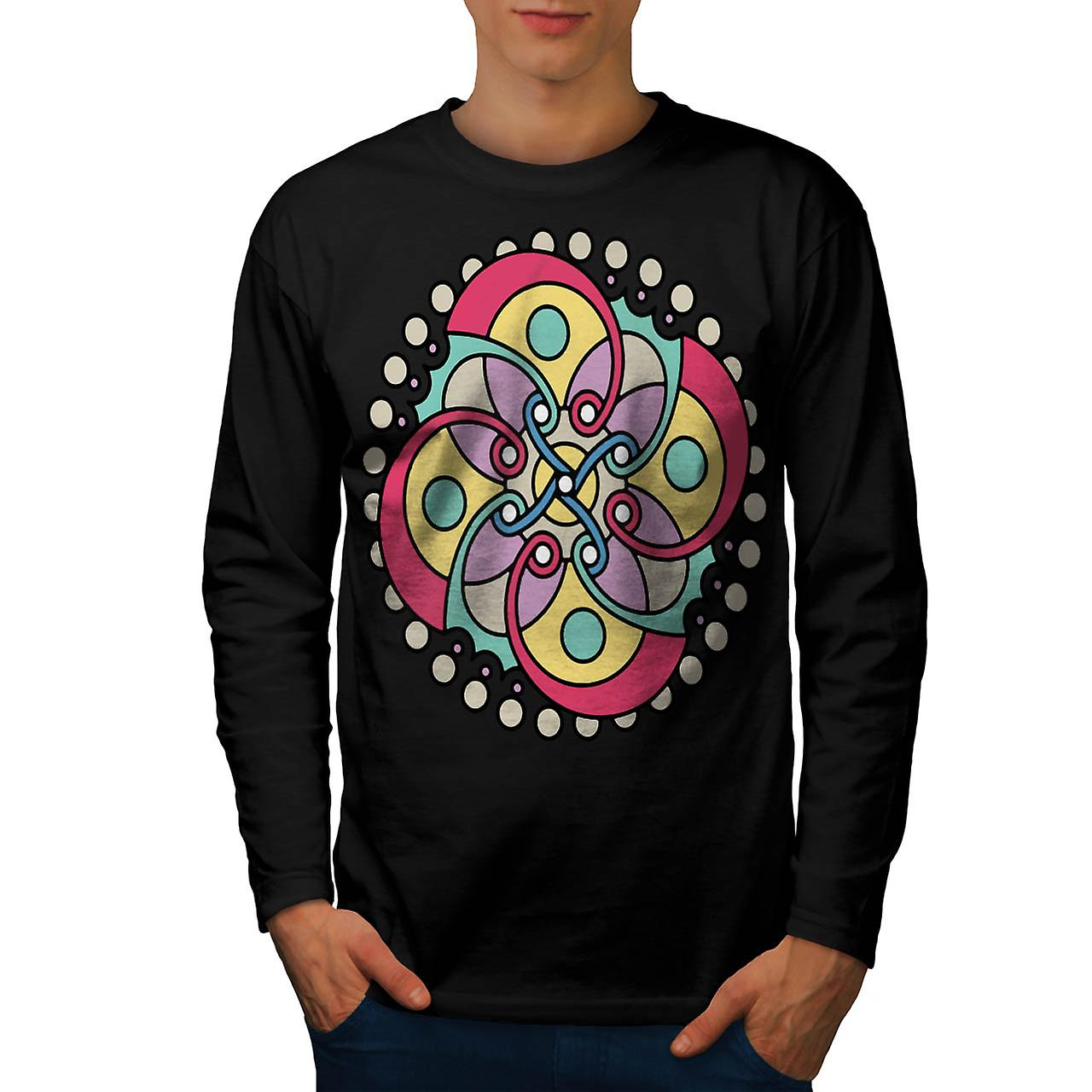 Wicked Flower Style Crazy Look Men Black Long Sleeve T-shirt | Wellcoda