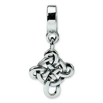 Sterling Silver Polished Antique finish Reflections Celtic Weave Cross Dangle Bead Charm