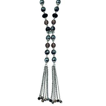 Silver-tone Fancy Lobster Closure Black and Hematite Acrylic Stones And Beads 28inch Necklace