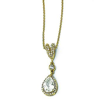 Gold-plated Sterling Silver Pear CZ Necklace - 18 Inch