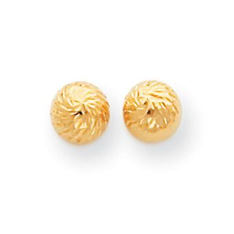14k Gold Polished and Diamond-Cut Swirl 6mm Ball Post Earrings - Measures 6x6mm