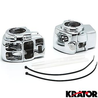 Harley Davidson Electra Glide FLHTCU/I & FLTCU / Road Glide FLTR/I / Road King FLHRCI / Road King FLHR/I Custom Chrome Handlebar Switch Housing Cover Kit (1996-2012)