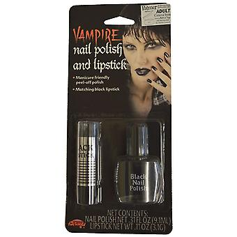 Nail Polish Lipstick Fancy Dress Halloween Accessories Black Horror Vampire