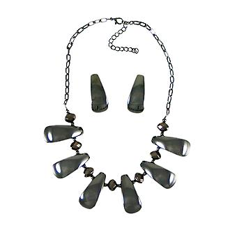 Chunky Hematite Finish Bead Necklace / Earrings Set