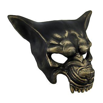 Snarling Wolf Metallic Half Face Mask