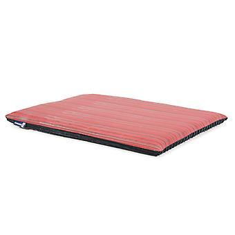 Sleepy Paws Flat Pad Red With Grey Stripe 76 X53cm