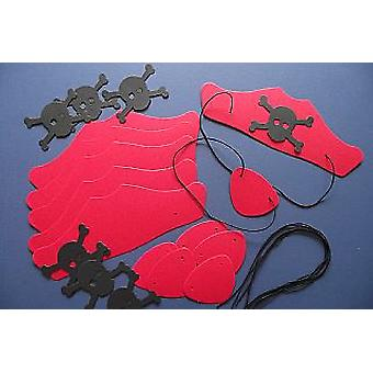10 Red Card Pirate Hats & Patches Kit for Kids Parties & Crafts