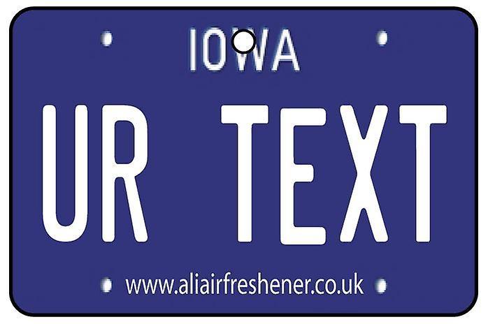 Individanpassade Iowa registreringsskylten bil luftfräschare