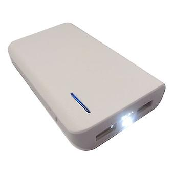 LMS Data Dual USB Portable PowerBank Charger with Torch - 6000mAh - White (USB-PBK-6000-W)