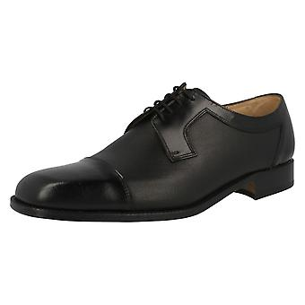 Mens Grenson Black Hi Shine Leather Lace Up Oxford Style Shoes 'Kendal'