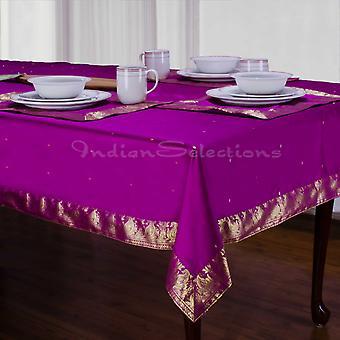 Violett rot - handgemachte Sari Tischdecke (Indien)