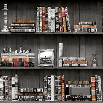 Bookcase Wallpaper Books Vintage Antique Retro Wooden Brown Grey Holden