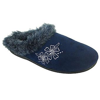 Coolers Womens Floral Embroidered Faux Fur Mule Slippers