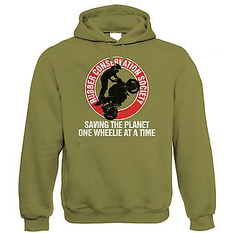 Vectorbomb, Rubber Conservation Society, Mens Funny Biker Hoodie